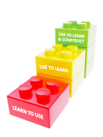 Lego blocks showing the three stages of leveraging technology.